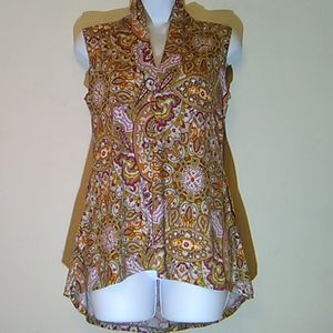 Premise Studio High/Low Paisley Tunic.Size S.